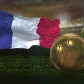 Videohive 8k France Flag With Football And Cup Background Loop 32620745 Free Download