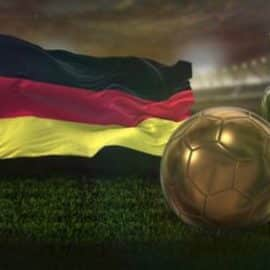 Videohive 8k Germany Flag With Football And Cup Background Loop 32620500 Free Download