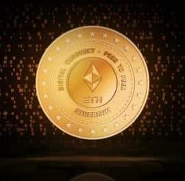 Videohive Ethereum Eth Cryptocurrency Golden Coin Loop On Digital Background 32615882 Free Download